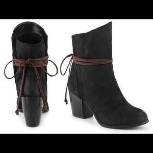 Qupid Maze-85 Black Suede Booties ankle boots heel